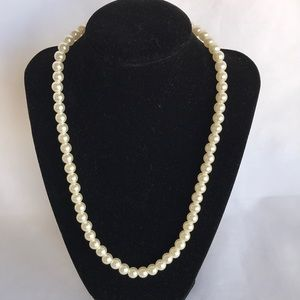 Imitation pearl stretch necklace